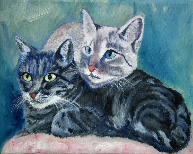 due gatti sul cuscino: Smocke e Romeo - Image 0