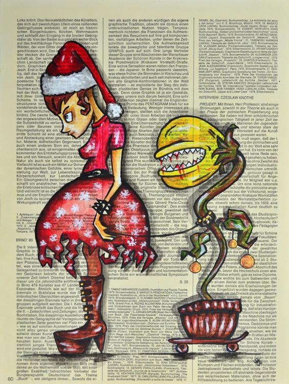 My Christmas Little Friend - Art On Vintage Paper - Image 0