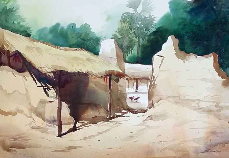 Morning Bengal Village-Watercolor on paper -