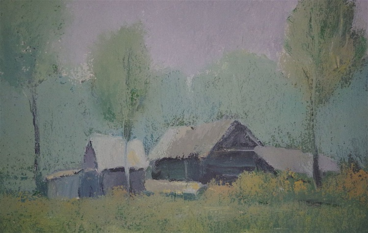 Landscape oil painting, Village side, One of a kind, Signed, Hand Painted - Image 0
