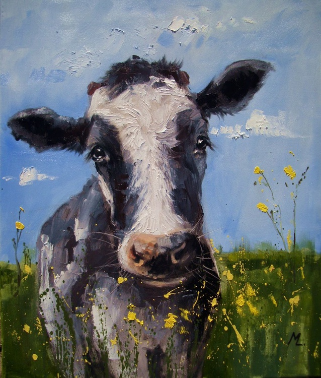 """ NOTHING MORE FOR HAPPYNESS "" BRIGHT SIDE OF LIFE - FOR SPRING - CUTE COW :) - Image 0"