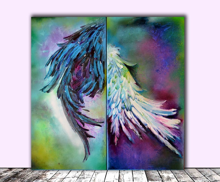 Yin Yang - Big, FREE SHIPPING, Large Modern Ready to Hang Abstract Feathers Painting - Image 0