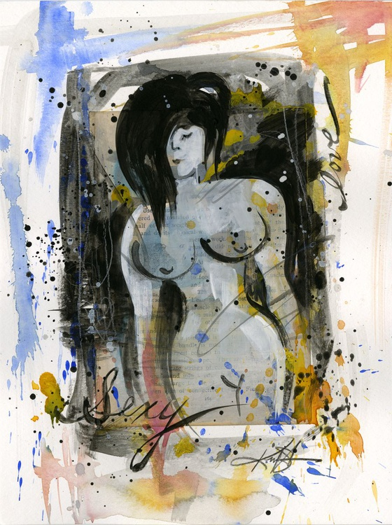 Nude Love 3 - Abstract Mixed Media Painting - Image 0