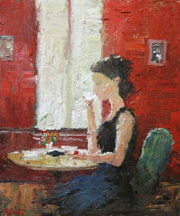 Morning cafe. Oil painting