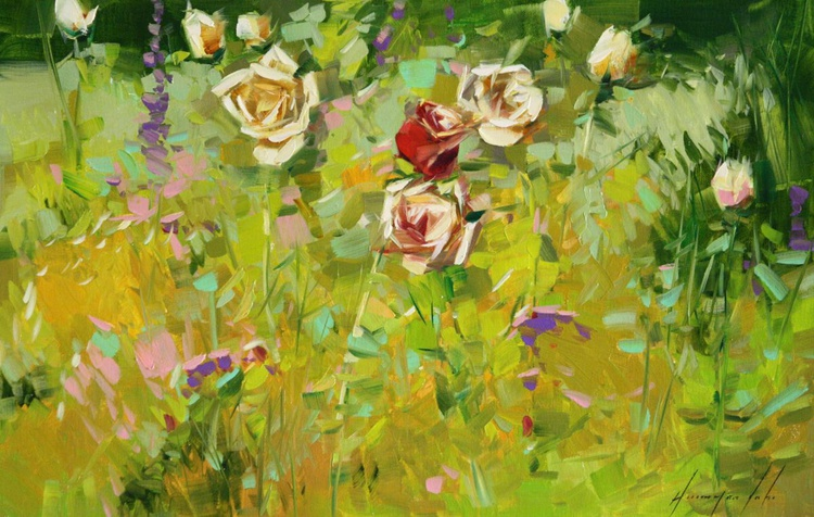 Garden of Roses Original oil Painting on Canvas - Image 0