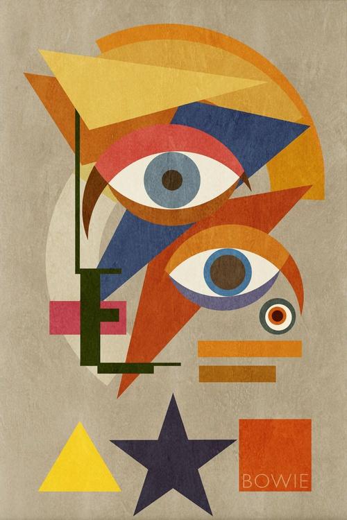 Bowie Bauhaus THREE, David Bowie Portrait, Unique Monoprints 1/1 - Image 0