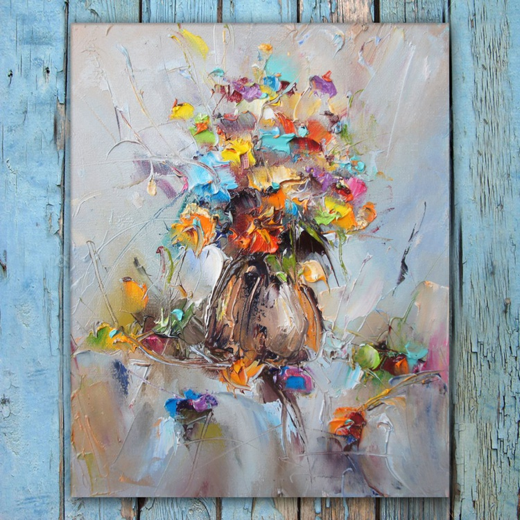 Colorful fragrance, Flowers Oil Painting, Free shipping - Image 0