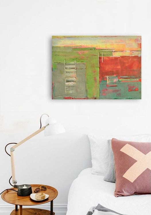 """Abstract painting """"Interior city 05"""". Oil painting on cotton canvas. - Image 0"""