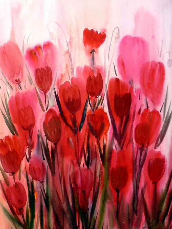 Beauty of Poppies Flowers - Watercolor Painting