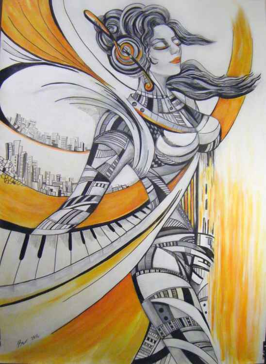 Music soar - 104x75 cm Large drawing -
