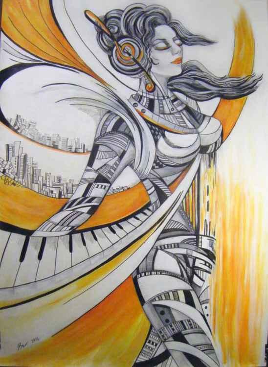Music soar - 104x75 cm Large drawing