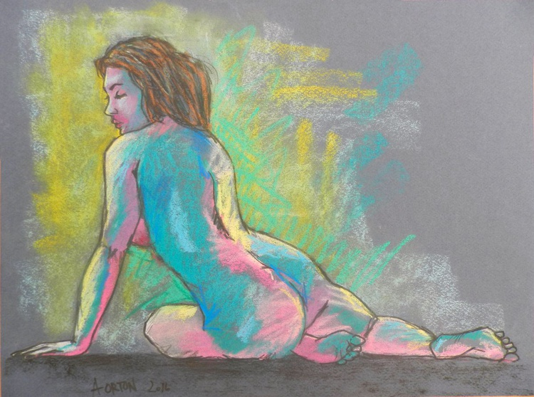 Female Nude Original Charcoal Pastel Figure Study Female Model Life Drawing Gesture Blue And Purple - Image 0