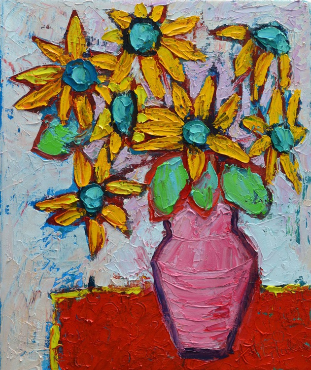 YELLOW WILDFLOWERS IN PINK VASE - abstract modern impressionist floral original palette knife oil painting - Image 0