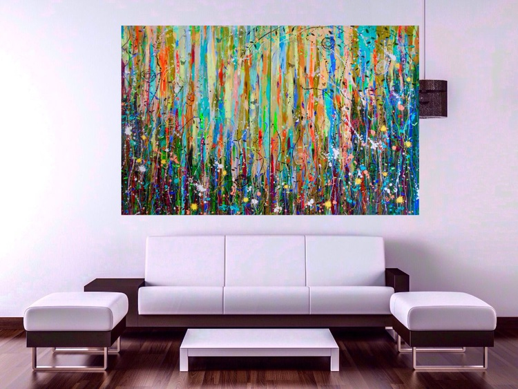 Lush Vines and Deviant Things - Large Painting on Two Panels (Diptych) - Image 0