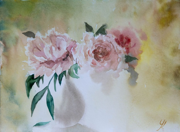 """Bouquet"", original watercolour painting, 15.7x 11.8""(40x30cm), ready to hang - Image 0"