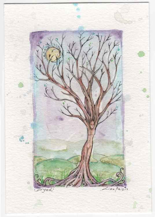 Dryad tree goddess original watercolour and ink miniature painting
