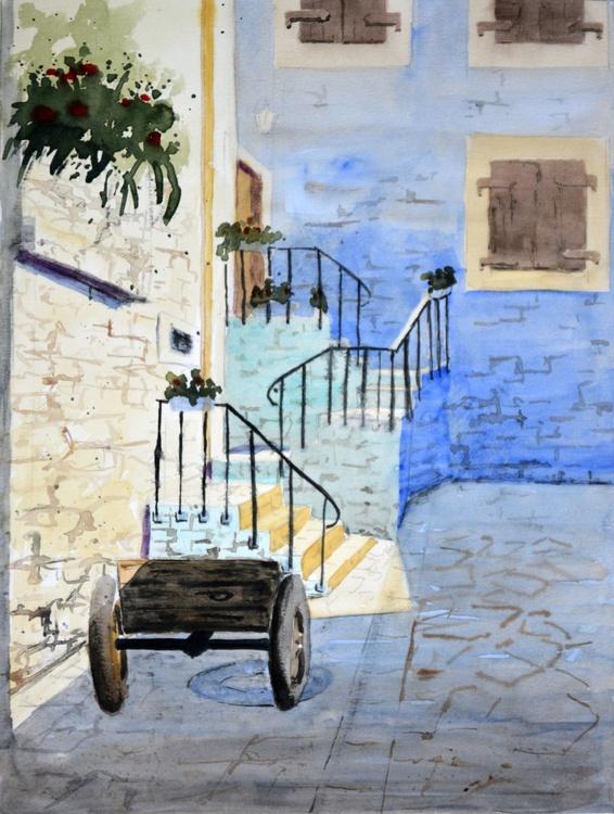 Shadows of Kotor, Montenegro - original watercolor painting by Nenad Kojić - Image 0