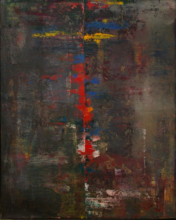 Ab10 Cross i (Dragged Paint Abstract) - Image 0