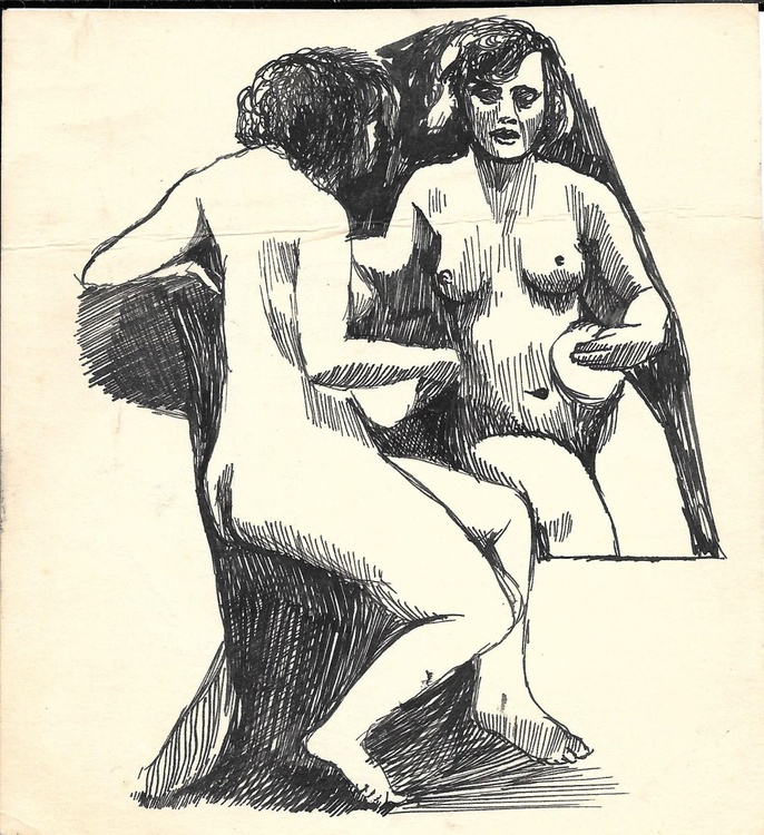 Nude looking in the mirror, 14x15 cm - Image 0