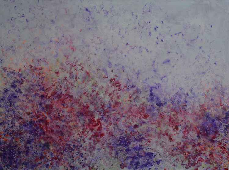 Field Of Wildflowers Large Acrylic Abstract Modern Ready To Hang White Wooden Frame