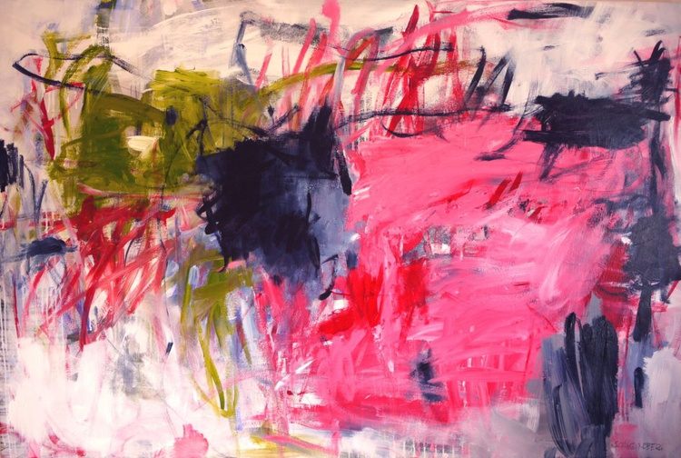 The Colours of Spring #2   large abstract   pink green red black   Work No. 2016.13 - Image 0