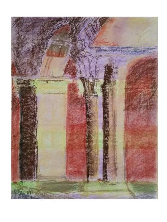 Repose original contemporary pastel drawing. - Image 0