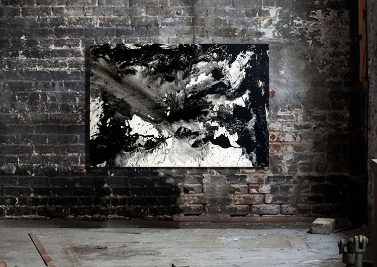 Modern Abstract 24x36 Gallery Wrap Black and White Expressionist - Image 0