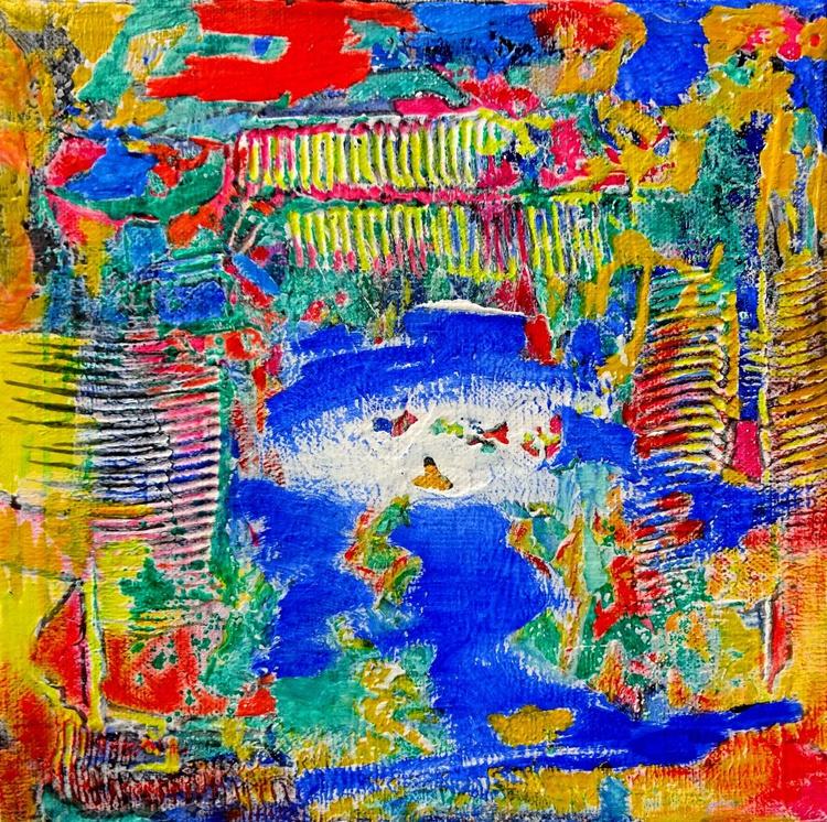 Swimming in the Pool - Ölbild 20 x 20 cm - Image 0