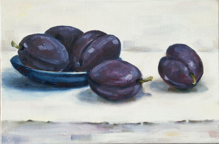 Plums (20x30cm) original oil painting still life canvas realistic style impressionistic small gift kitchen decor - Image 0