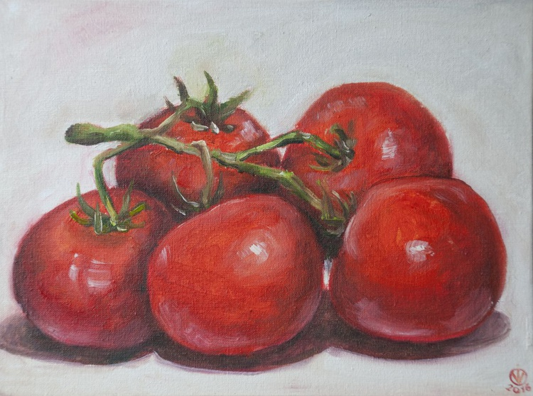 Tomatoes (18x24cm) original oil painting study from life still life impressionistic gift kitchen decor - Image 0