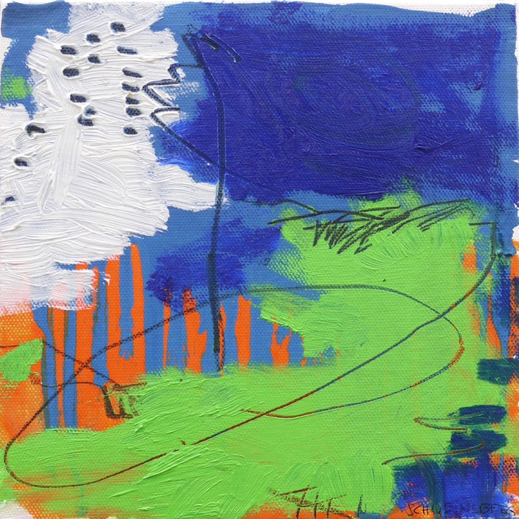A Day at the Lake #2 | small abstract oil painting | orange - blue - green - Image 0