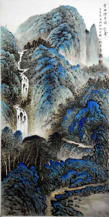 Chinese watercolour Landscape paining,with heavy clour-03