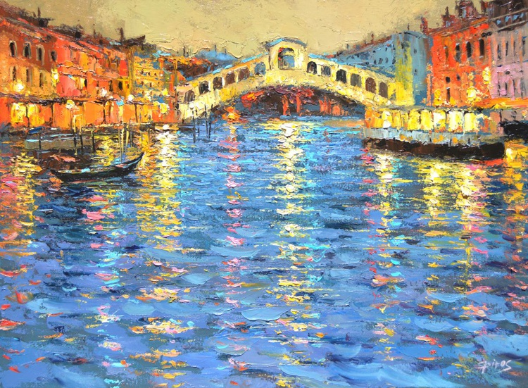 Night light in Venice - Oil painting on canvas by Dmitry Spiros. Ready to Hang. Size: 60cm x 80cm. - Image 0