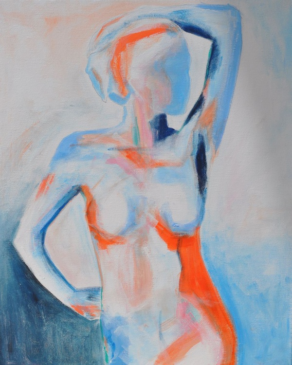 Nude in Orange and Blue-Abstract Original Signed figure study by Emily Powell - Image 0