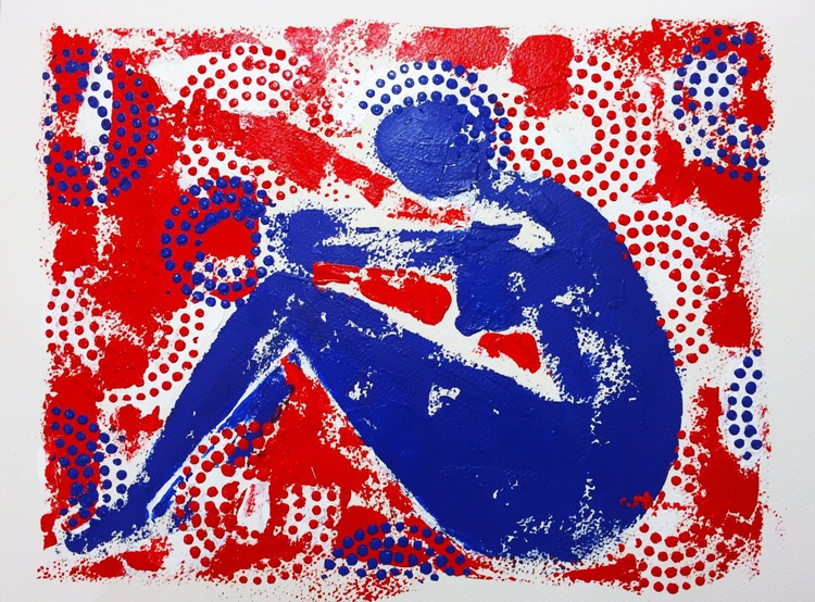 Nude Thinker - Blue and Red Abstract - Image 0