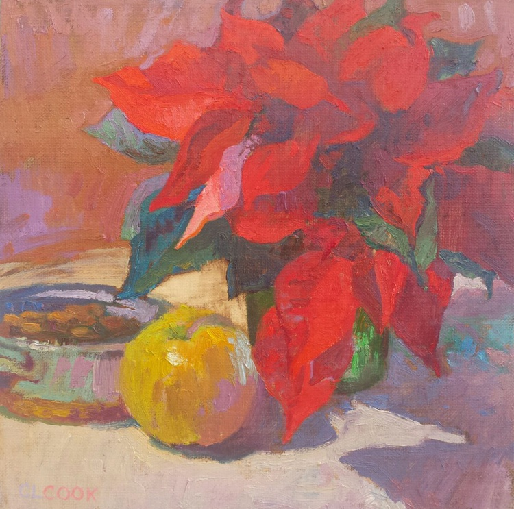 Warm Winter Arrangement in Red and Gold - Image 0