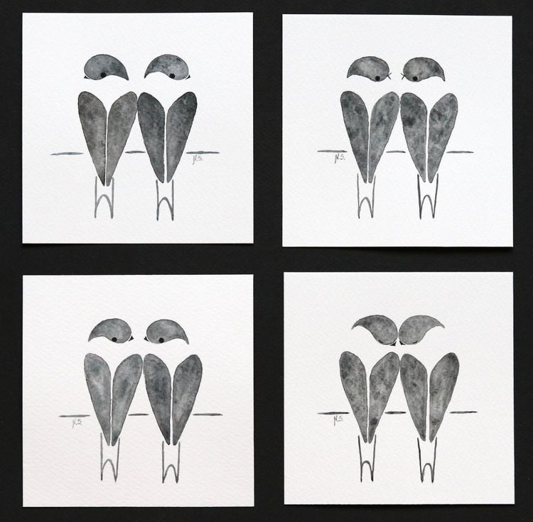 Swallows interactions - 4 miniature paintings - Image 0