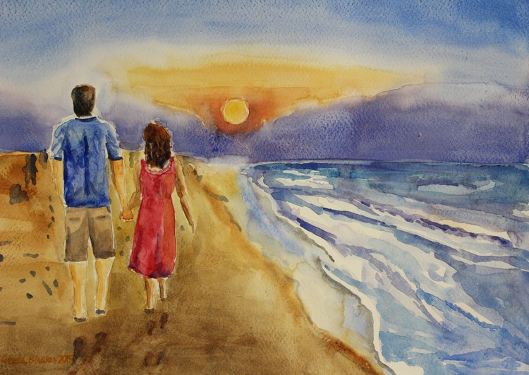 Thank You Love, couple, gift, impressionistic contemporary art - Image 0