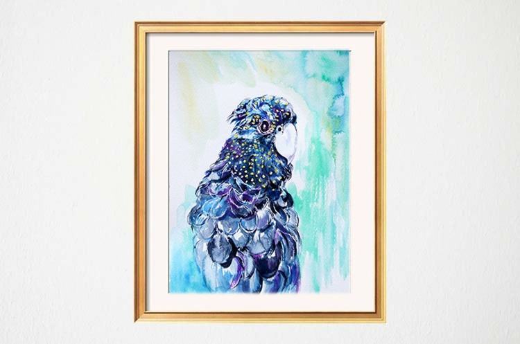 Original Watercolour painting of a Dark Parrot - Image 0