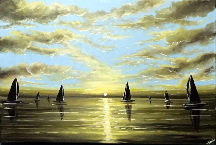 Glowing Sunset Sails - Image 0