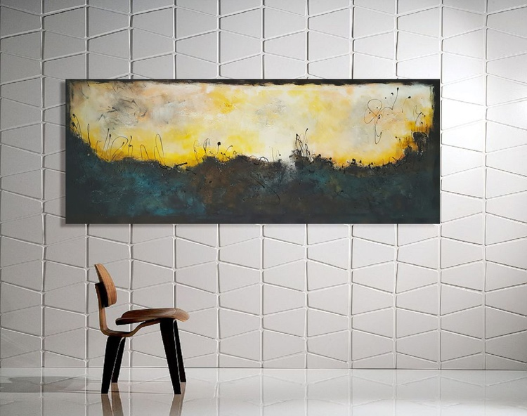 "59x 23,5""( 150x60cm), Naxos Island Landscape,  orange painting , canvas art, home painting - Image 0"