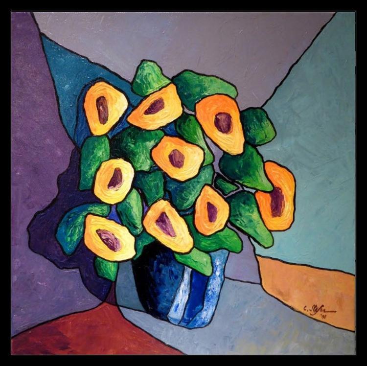 Flowers in a Blue Vase (FRAMED) - Image 0