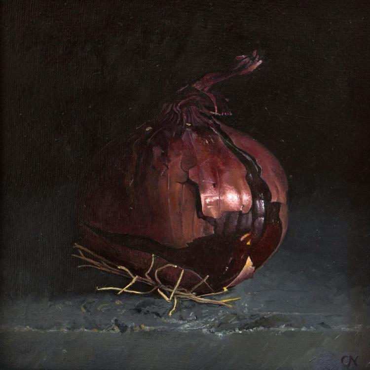 Red onion on Pembrokeshire slate - Image 0