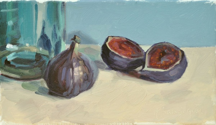 Figs and  blue glass jar - Image 0