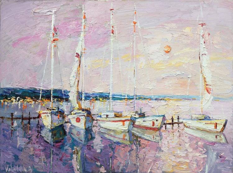 Sailing boats at sunset Original oil painting - Image 0