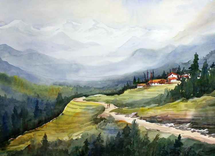 Beauty of Himalayan Landscape - Watercolor Painting