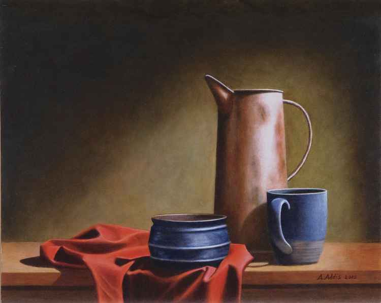 Still Life with copper jug and red cloth -