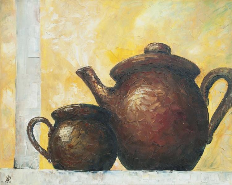 Brown Pots (50x40cm) original palette knife oil painting modern wall decor art for kitchen still life - Image 0