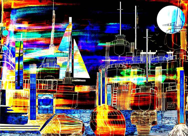 Night time harbour lights -