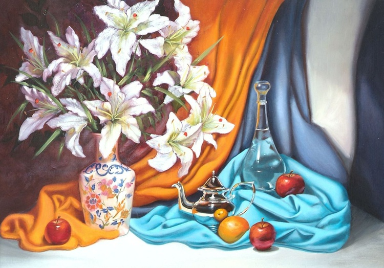 Lillies with silver coffee pot and water carafe - Image 0